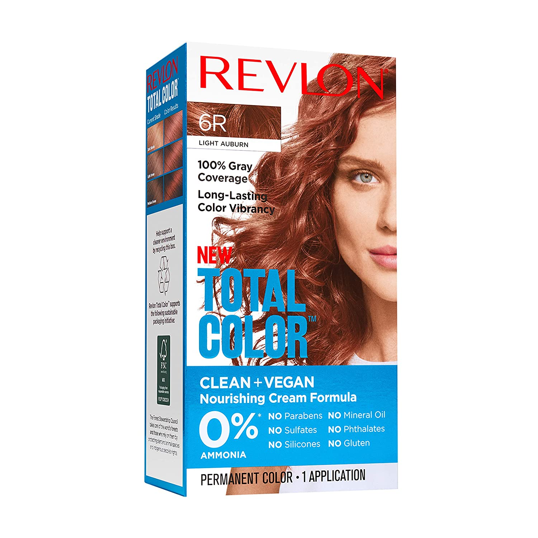 Revlon Total Color Permanent Hair Color, Clean and Vegan, 100% Gray Coverage Hair Dye, 6R Light Auburn, 3.5 oz