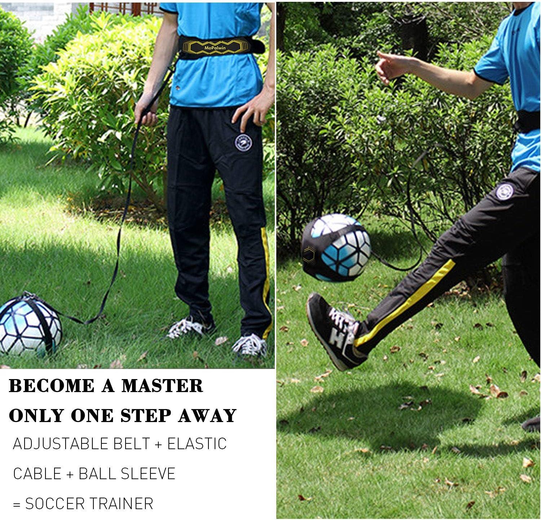 Football Entrainement Ceinture Pentacle Mains Libres Pratique Solo Soccer Training Kit avec /élastique Ajustable pour Enfants Adultes Football Kick Trainer Jaune KUACALL Football Elastique