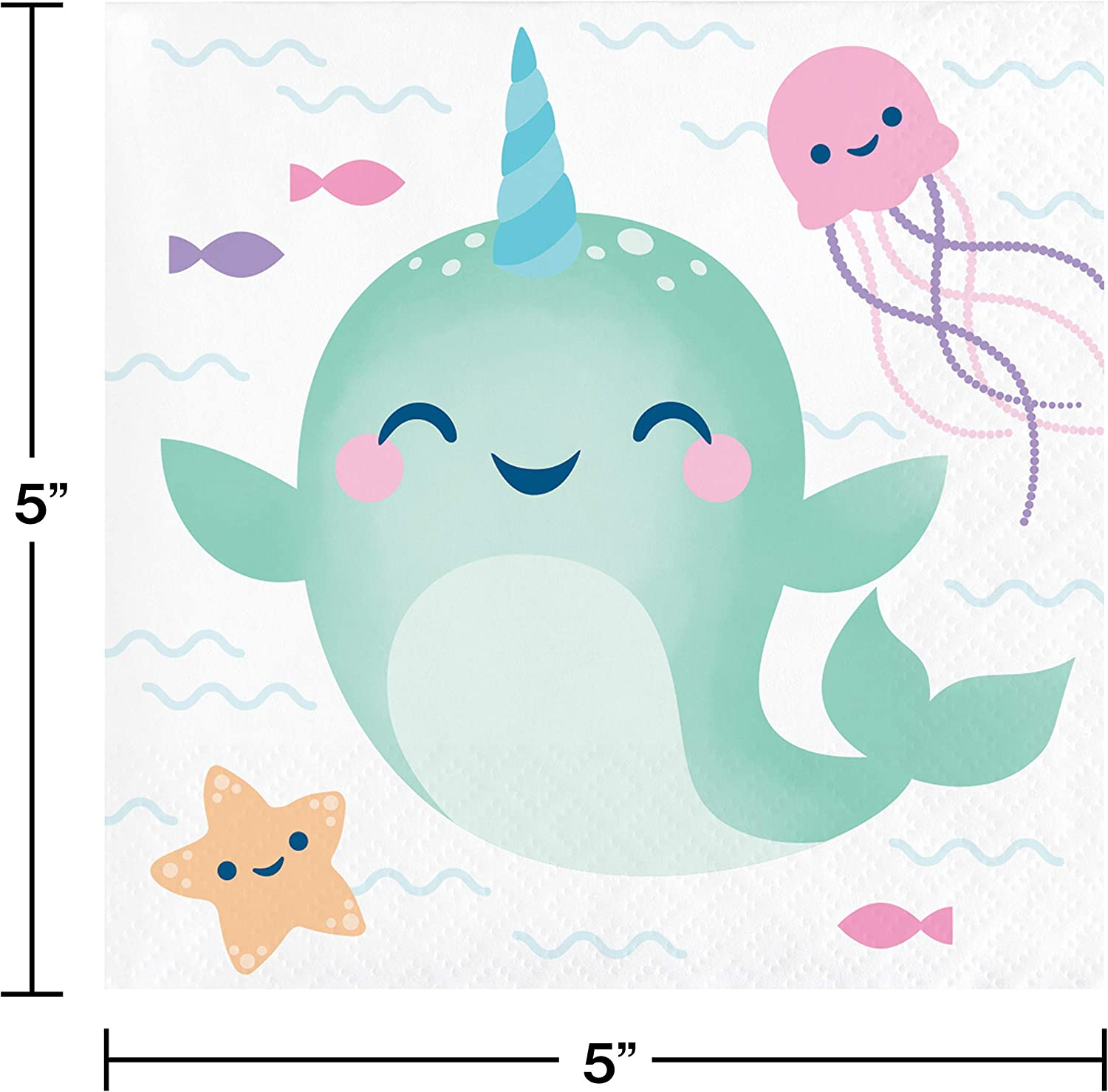 Narwhal Party Beverage Napkins 48 ct