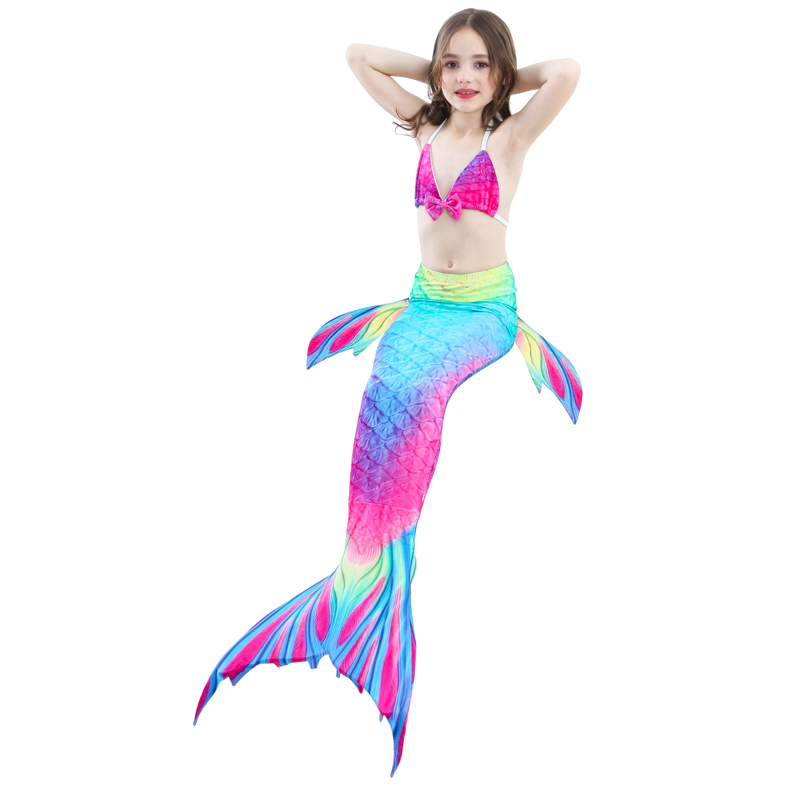 Camlinbo 3PCS Girls' Swimsuit Mermaid Tail for Swimming Tropical Bikini Set Support Monofin by Camlinbo (Image #6)