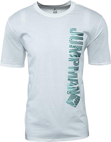 Nike Jumpman Vertical tee Camiseta Manga Corta de la línea Michael Jordan, Hombre, Blanco (Blanco/Hyper Turq), XL: Amazon.es: Ropa y accesorios