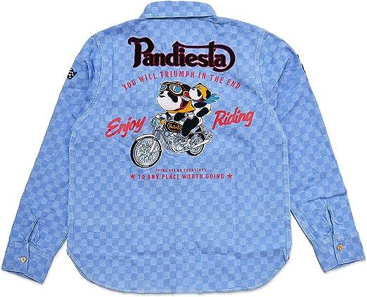 (パンディエスタ)PANDIESTA タンデムライドデニムシャツ PANDIESTA JAPAN 530600 パンディエスタジャパン パンダ 刺繍 バイク