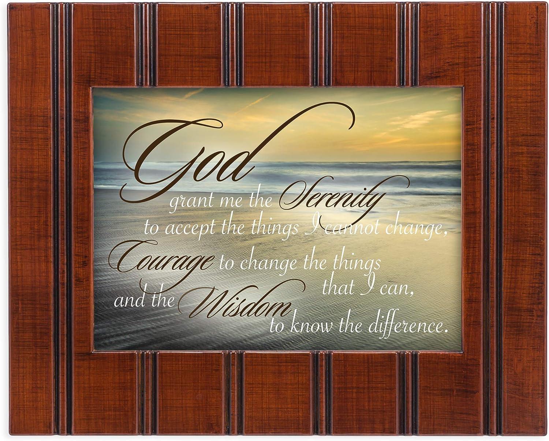 Cottage Garden Serenity Prayer Ocean Waves 8x10 Woodgrain Framed Art Wall Plaque Sign