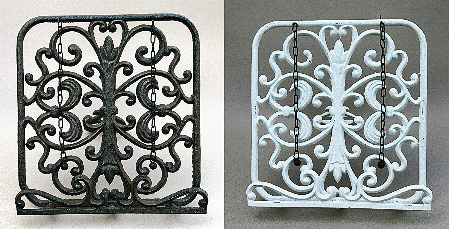 Brown CAST IRON VINTAGE STYLE RUSTIC COOK BOOK RACK HOLDER STAND