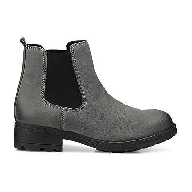 san francisco d8a63 6f998 Cox Damen Chelsea Boots aus Leder in Grau, gefütterte Winterstiefel mit  Profilsohle