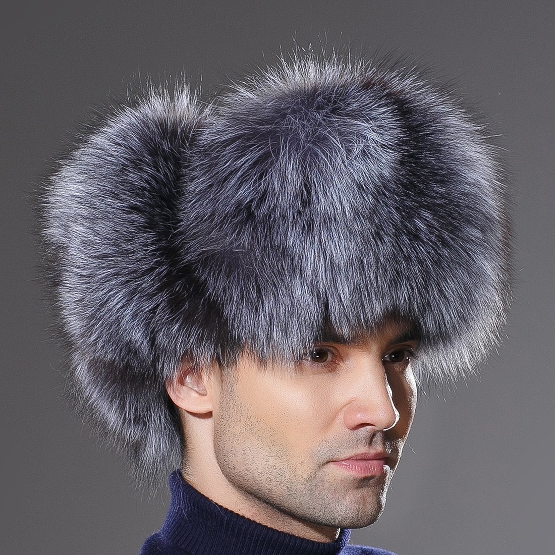 URSFUR Winter Mens Russian Ushanka Hat Real Leather & Silver Fox Fur Trapper Cap by URSFUR (Image #4)