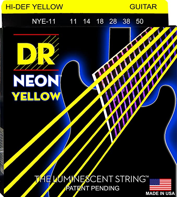 Amazon.com: DR Strings NYE-11 Coated Nickel Hi-Def Yellow Electric Guitar Strings, Heavy: Musical Instruments