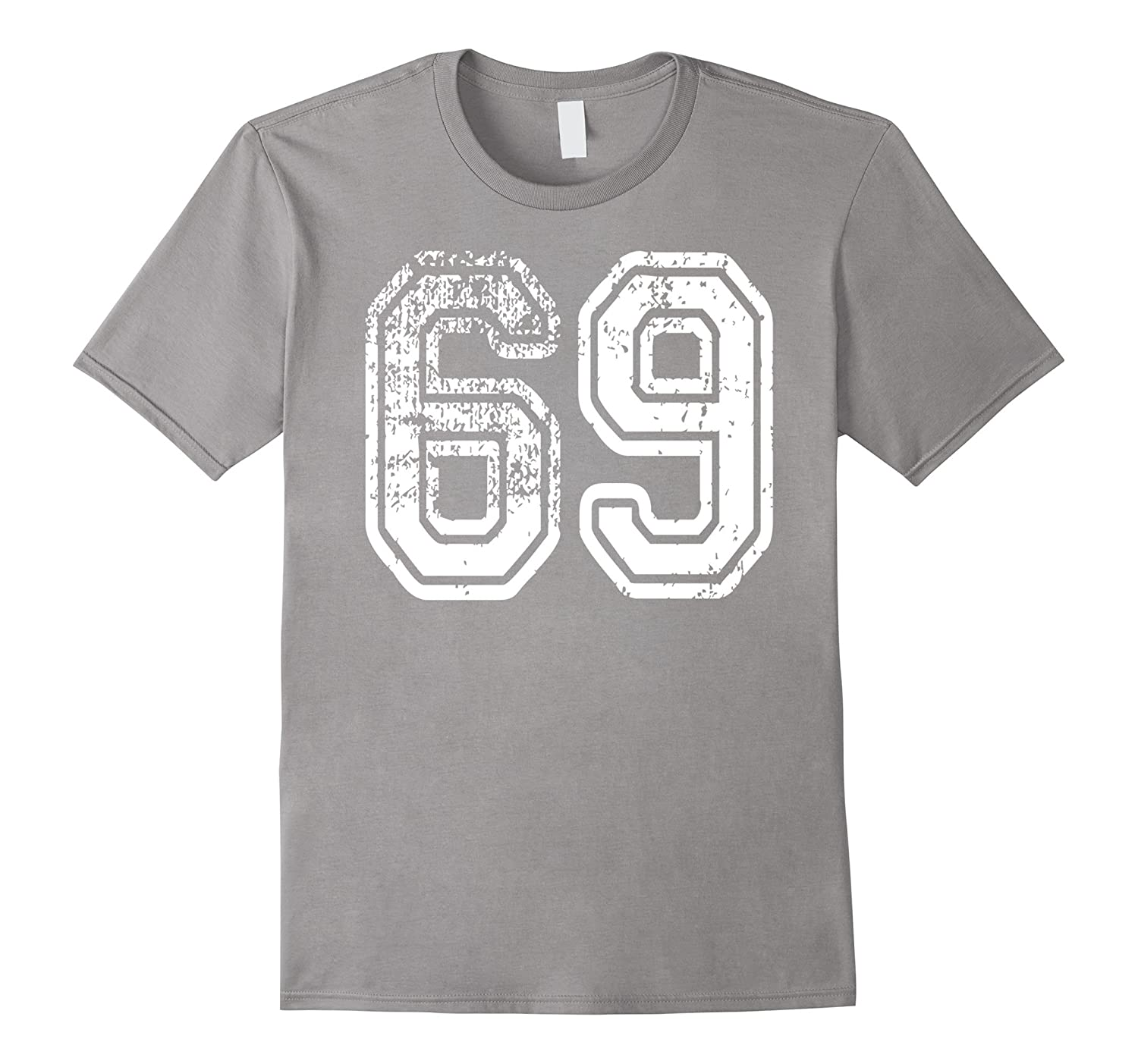 #69 Grungy Numbered Sports Team T-Shirts printed both sides-Rose