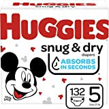Diapers Size 5 - Huggies Snug & Dry Disposable Baby Diapers, 132ct, One Month Supply