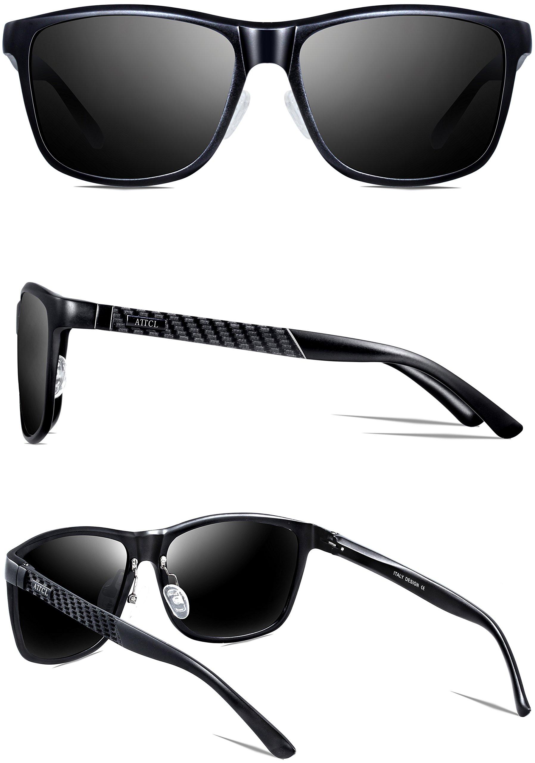ATTCL Men's Hot Retro Metal Frame Driving Polarized Wayfarer Sunglasses For Men 18587black by ATTCL (Image #4)