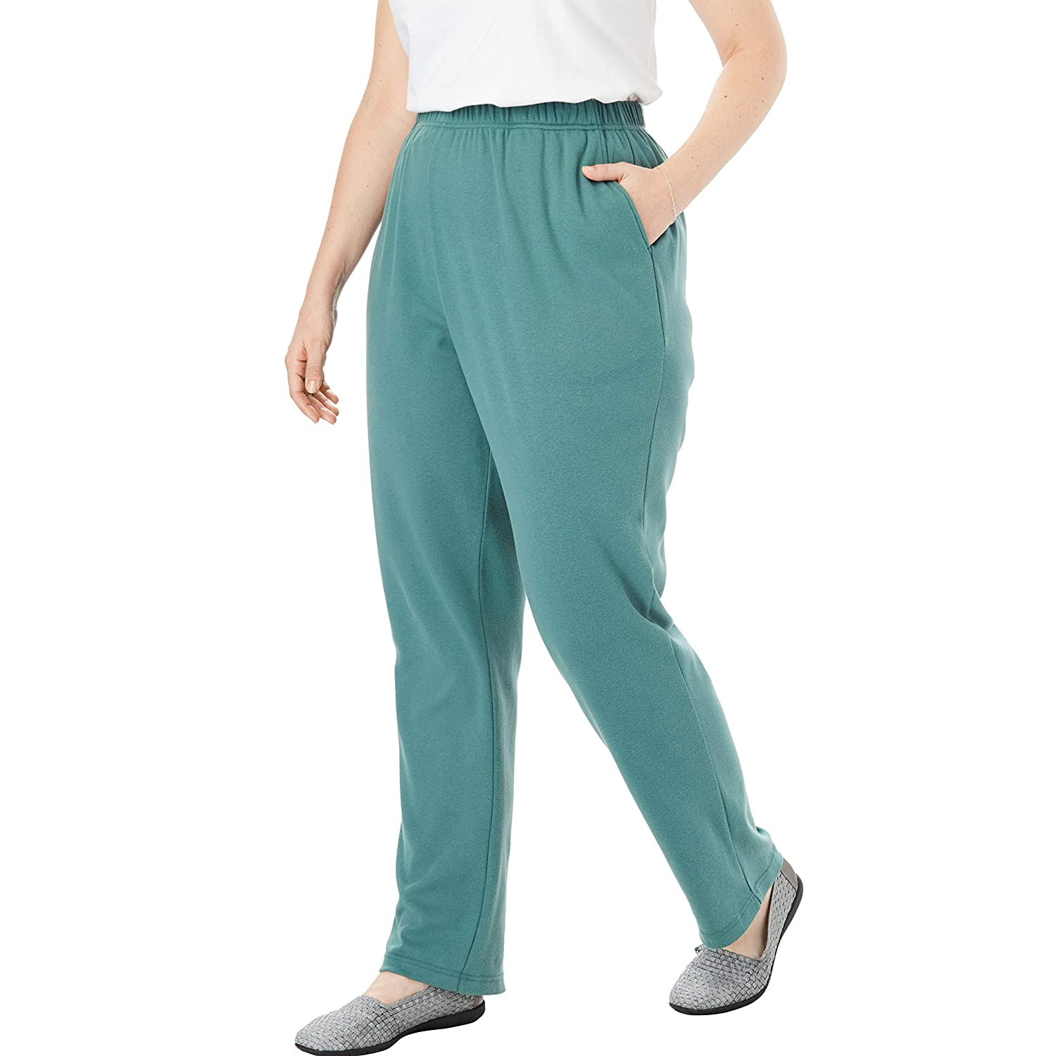 5ad1b3ae10 Woman Within Women's Plus Size Tall 7-Day Knit Straight Leg Pant at Amazon  Women's Clothing store: Tall Women Size Pants