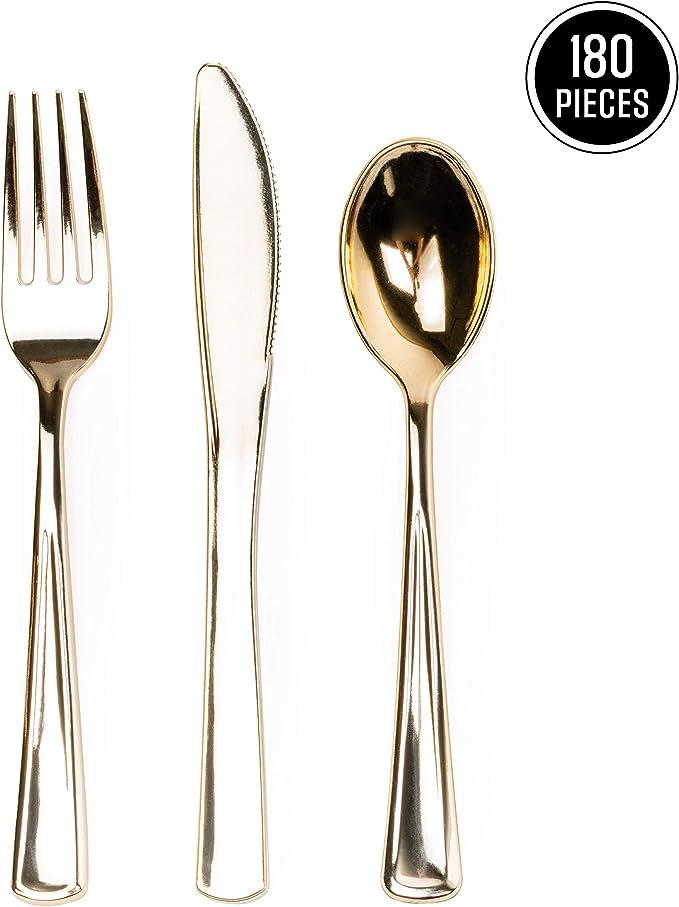 180 Piezas Juego de Cubiertos Dorado Plástico Desechables, Premium ...