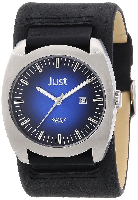 Just Watches 48-S1992-BL-BK - Reloj analógico de cuarzo para hombre, correa de cuero color negro