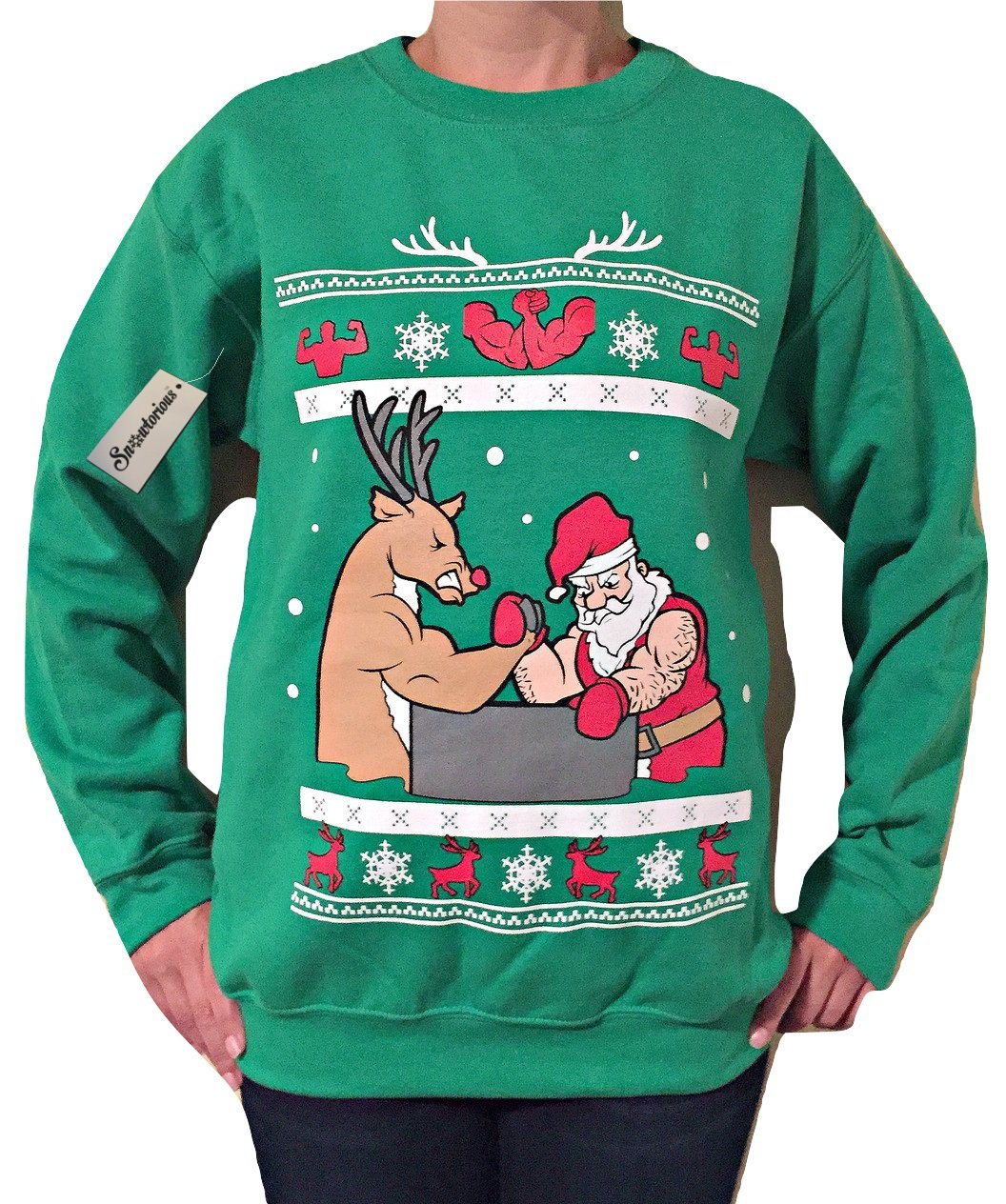 Arm Wrestling - Ugly Christmas Sweater (green, small) by Snowtorious