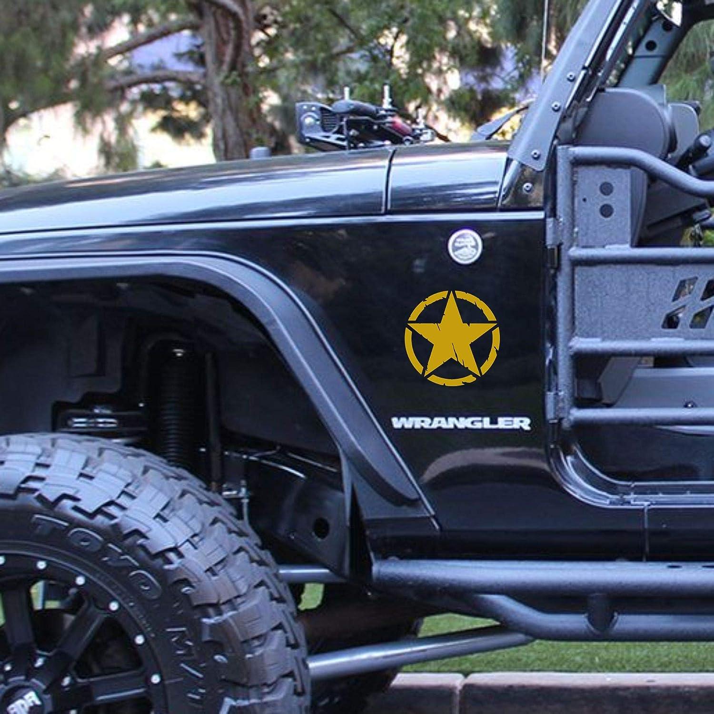 Nero, 15 Cm Autodomy Confezione Adesivi 4x4 off Road Stella Militare Distrutto US Army Varie Dimensioni 10 cm 15 cm 20 cm 2 Pezzi per Auto