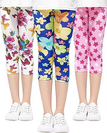 Adorel Leggings 3/4 Pantalón Stretch Impreso Niña Lote de 3
