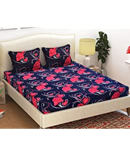 HFI 140 TC 3D Printed Polycotton Double Bedsheet with 2 Pillow Covers - Blue