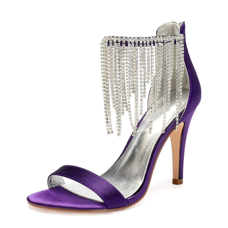 Darkpúrpura LHWAN satén boda nupcial de las mujeres zapatos de punta abierta tacones altos rhinestone franja correa del tobillo fiesta de graduación de la noche bomba