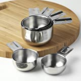 KitchenMade Stainless Steel Measuring Cups - Set of 6 - FREE Recipe eBook - Best Quality 18/8 Polished SS - Great Design Made to Nest One Piece Inside the Other - Compact Stackable Cups - Perfect for Home Cooking and Baking - Ideal for Professional Use -