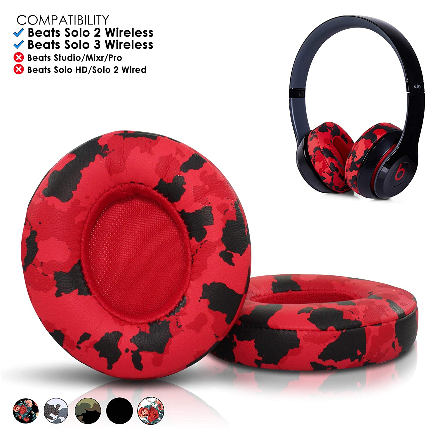 3f64602b1e9 Amazon.com: Wicked Cushions Beats Solo 2 Ear Pad Replacement - Compatible  With Solo 2 & 3 WIRELESS On Ear Headphones | Red Camo: Home Audio & Theater