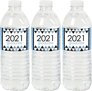 product image for Big Dot of Happiness Light Blue Grad - Best is Yet to Come - 2021 Light Blue Graduation Party Water Bottle Sticker Labels - Set of 20