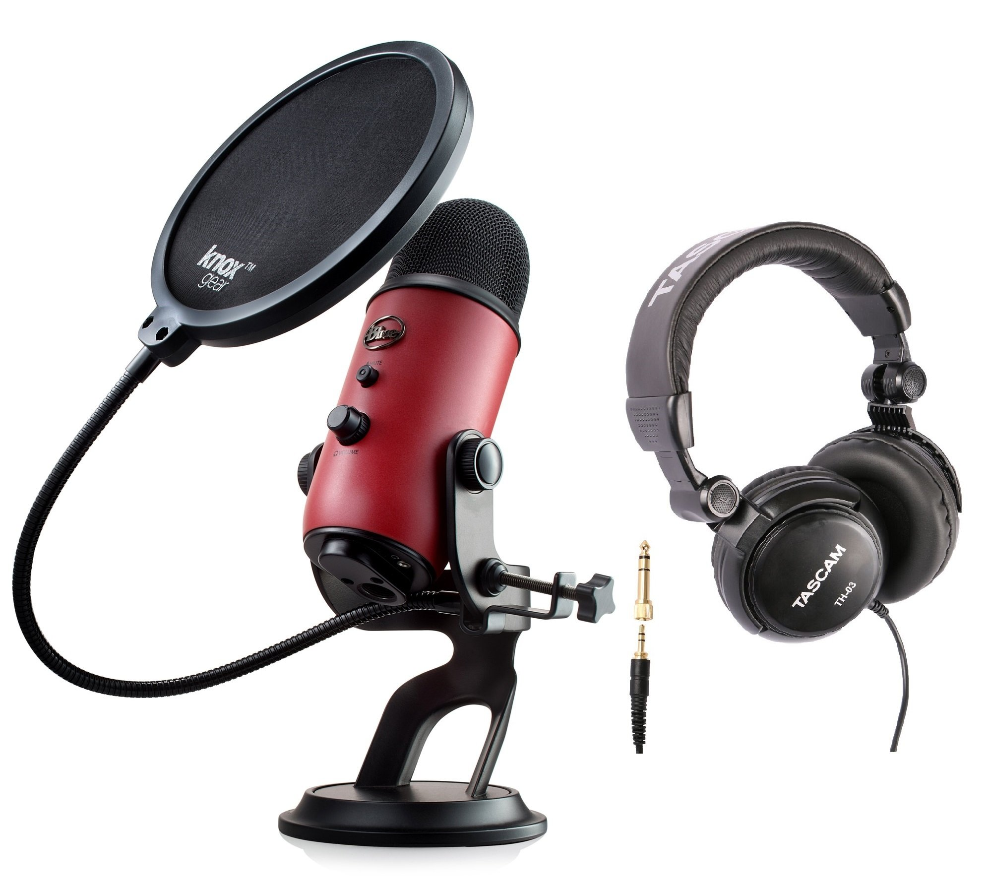 Blue Microphones Yeti USB Red Microphone with Studio Headphones and Knox Pop Filter