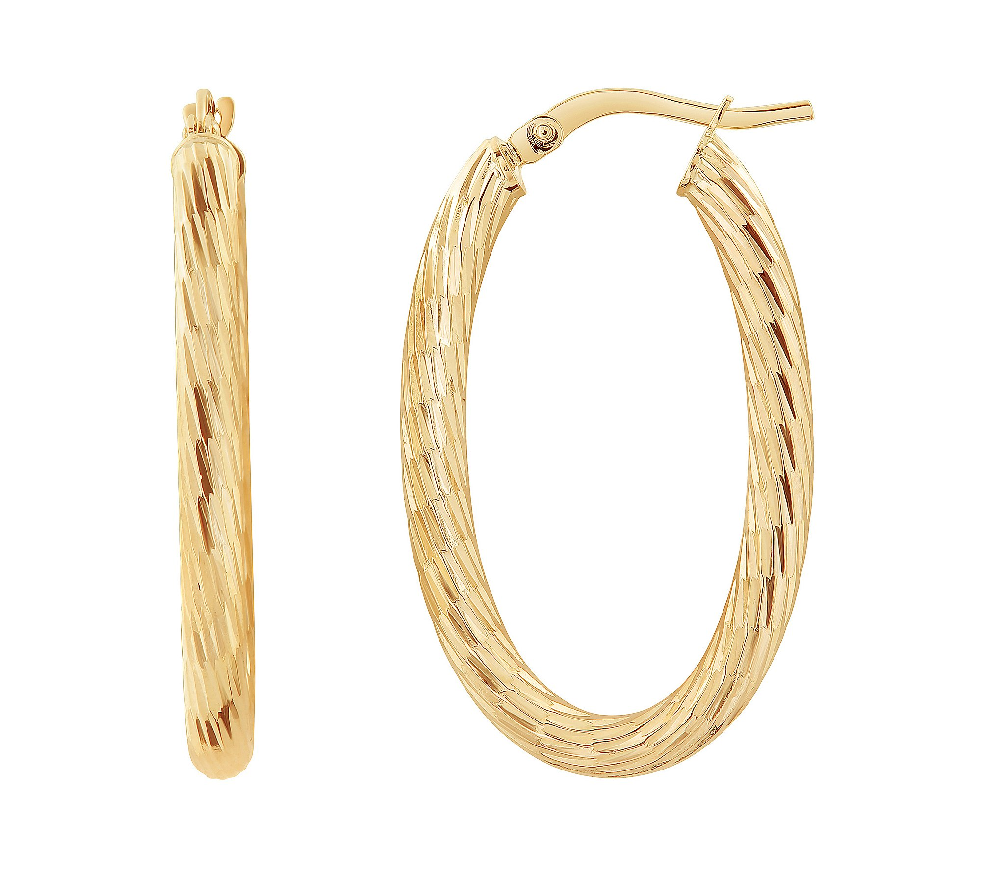 14K Yellow Gold Polished Diamond Cut 3MM Oval Hoop Earrings
