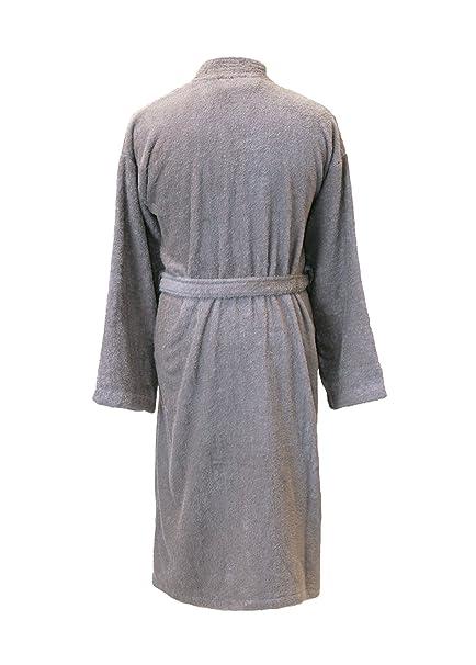 a7f0aa2ecb Personalised Grey Embroidered Towelling Kimono Style Bathrobe   Dressing  Gown  Amazon.co.uk  Clothing