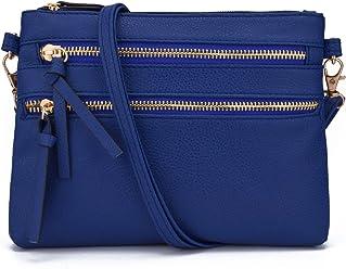 1bb5aa94ea22 JIARUO Functional Mini Multi Zipper Pocket Small Women PU Leather Crossbody  Bag Purses