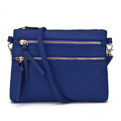 Jiaruo Functional Mini Multi Zipper Pocket Small Wristlet Crossbody Bag  (deep blue) 6bfa909fbac3c
