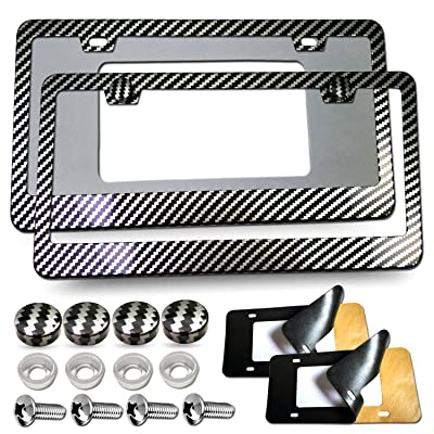 Carbon Fiber License Plate Frames - Metal Black Carbon Fiber License Plate Frames Covers, Front & Rear Aluminum License Tag Holder with License Plate Fastener Kit, Screw Caps Car Sound Deadeners: Automotive