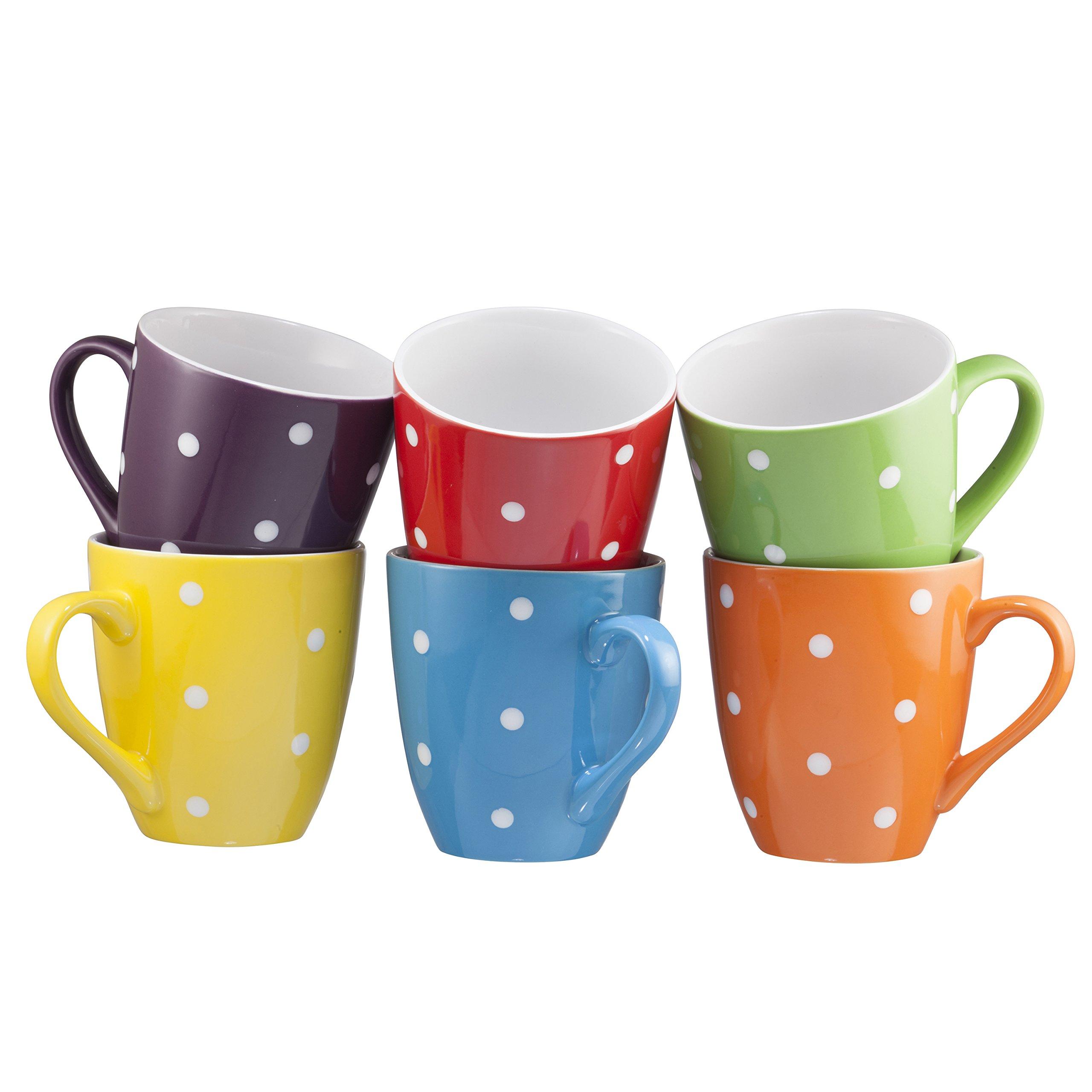 Coffee Mug Set Set of 6 Large-sized 16 Ounce Ceramic Coffee Mugs Restaurant Coffee Mugs By Bruntmor (Polka Dot) by Bruntmor (Image #2)