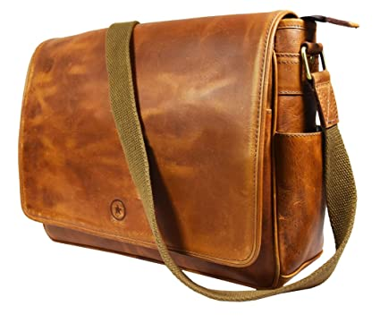 3fb542b04f9c Image Unavailable. Image not available for. Color  16 quot  Crossbody Bag  Leather Laptop Messenger ...