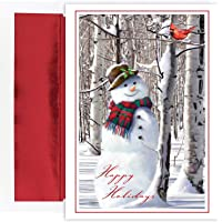 18-Count Masterpiece Studios Holiday Collection Snowman with Cardinal Cards with 18 Foil Lined Envelopes