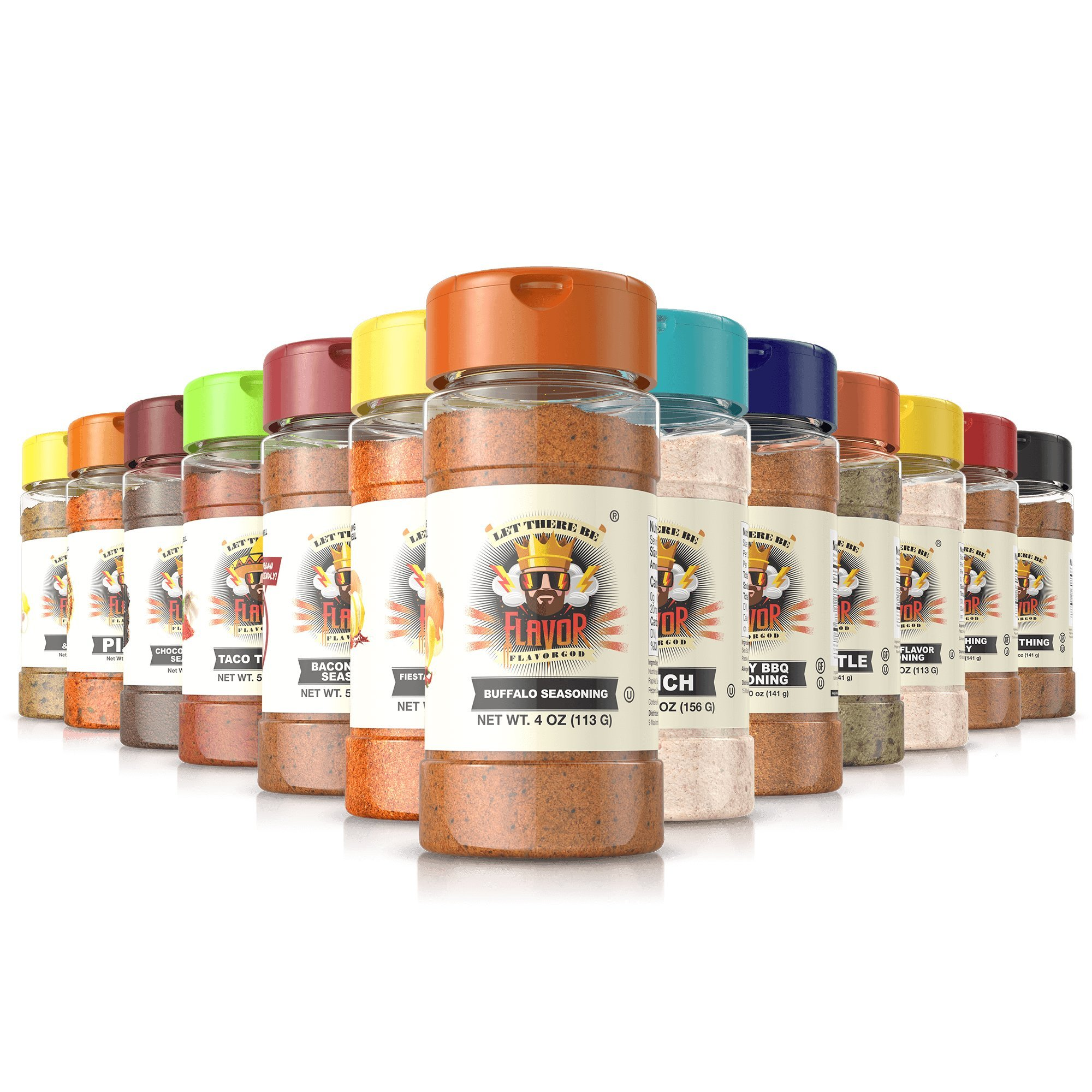 Flavor God Seasonings - Chef Spice Rack - 14 Seasoning Combo pack (Gluten Free, GMO Free, MSG Free, Low Sodium, Paleo Friendly)