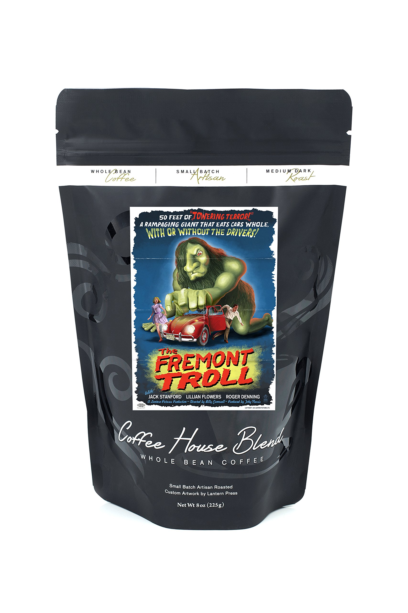 The Fremont Troll Movie Poster (8oz Whole Bean Small Batch Artisan Coffee - Bold & Strong Medium Dark Roast w/ Artwork)