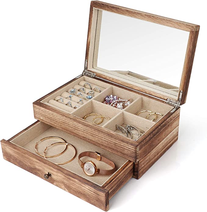 Meangood Jewelry Organizer Box Two Layer Jewelry Case For Women Wood Display Case With Mirror Ring Tray Vintage Style Torched Wood Home Improvement