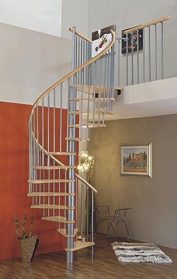 Huso de escalera/ahorro de espacio escaleras/escalera de caracol Sidney plata de DM de madera de 160 cm: Amazon.es: Bricolaje y herramientas