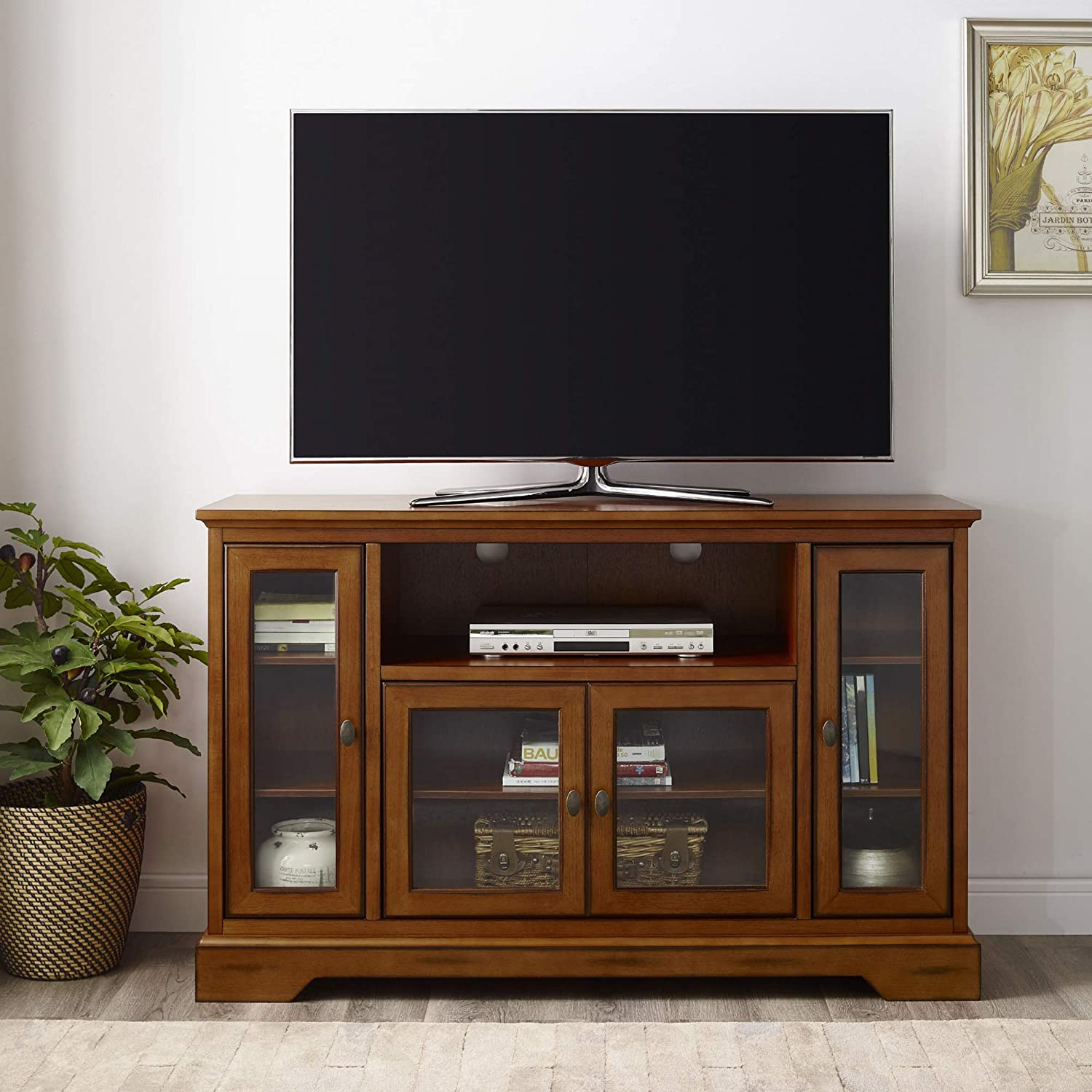 "WE Furniture Traditional Wood Stand for TV's up to 56"" Living Room Storage, 52 Inch"
