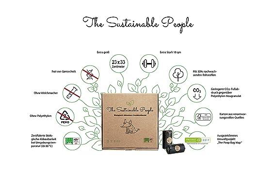 Bolsas para excreciones de perro de TSP, 100 % biodegradable, grandes, gruesas (18 µm), seguras y resistentes a la humedad