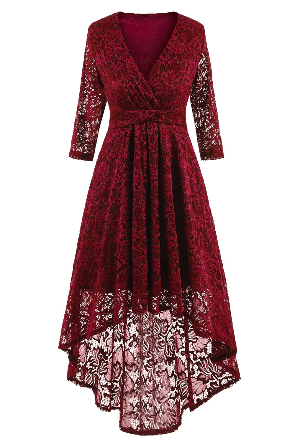 NALATI Women 1950s Vintage Deep V Neck High-low Hem Lace Cocktail Party Dress