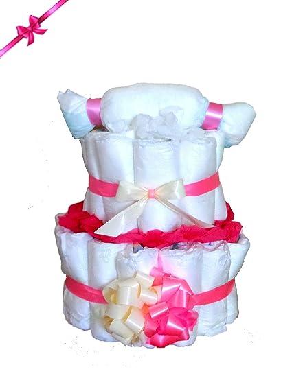 Bonito Tarta Pañales Rosa para niña – El regalo regalo para nacimiento, bautismo O.