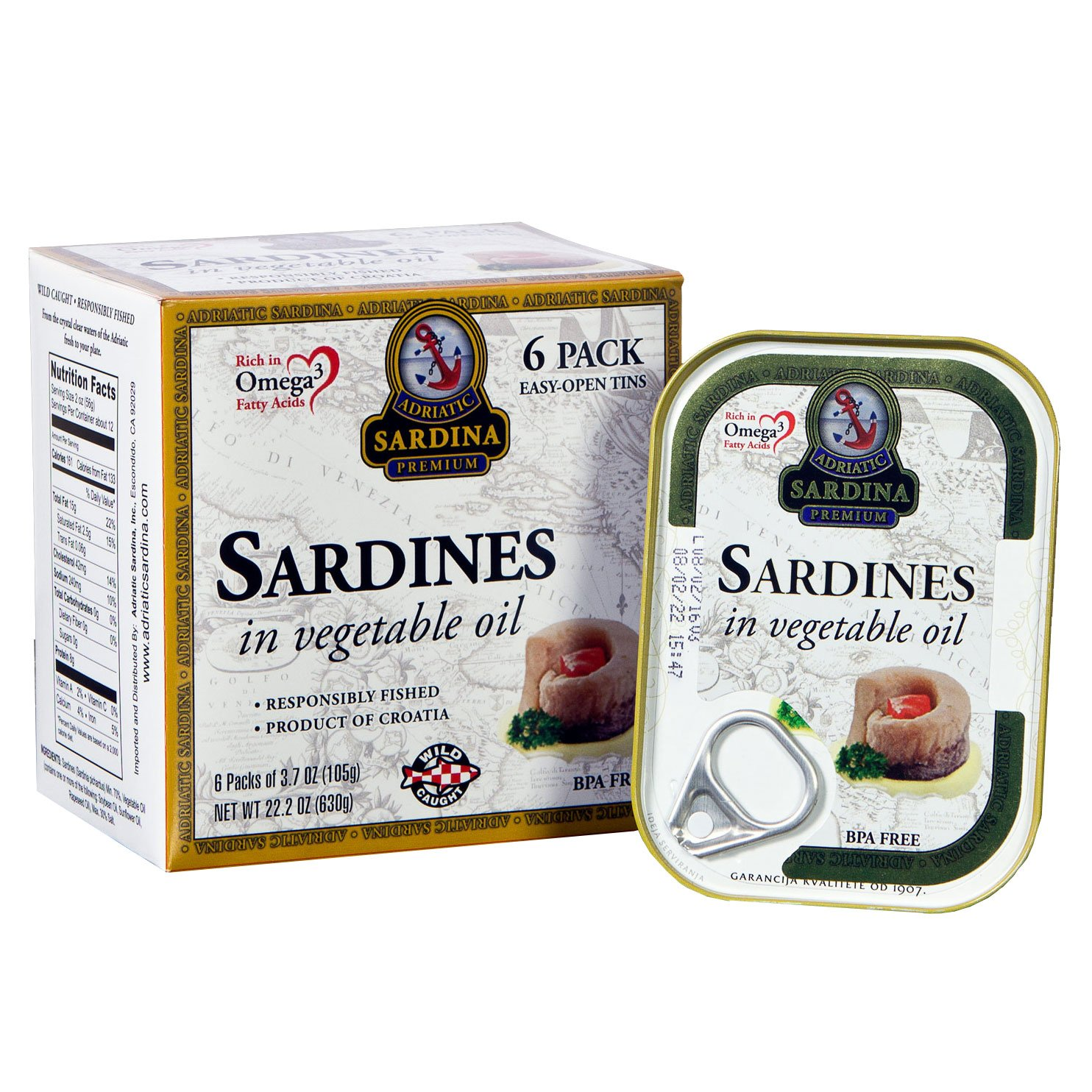 Adriatic Sardina Wild Caught Sardines in Vegetable Oil, 3.7 oz (Pack of 6)