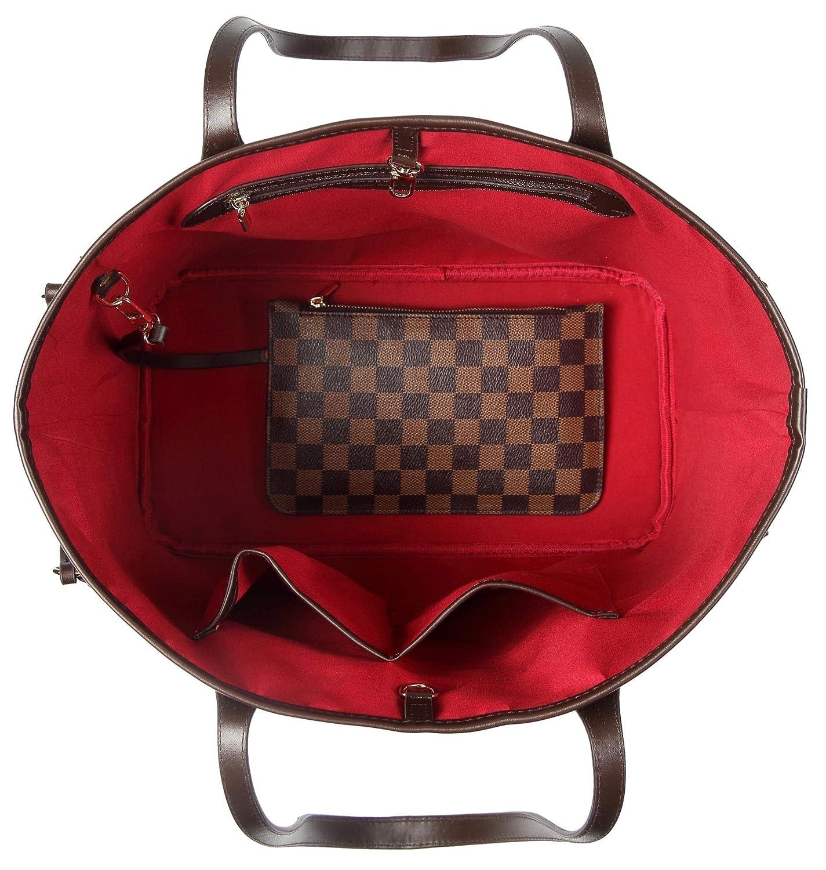 Pu cuir v/ég/étalien Moyen marron Daisy Rose X Katy Roach Checkered Sac fourre-tout d/épaule avec int/érieur Pouch