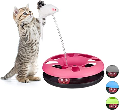 Relaxdays Juguete Gato con Ratón y Bola con Cascabel, Cat Toy ...