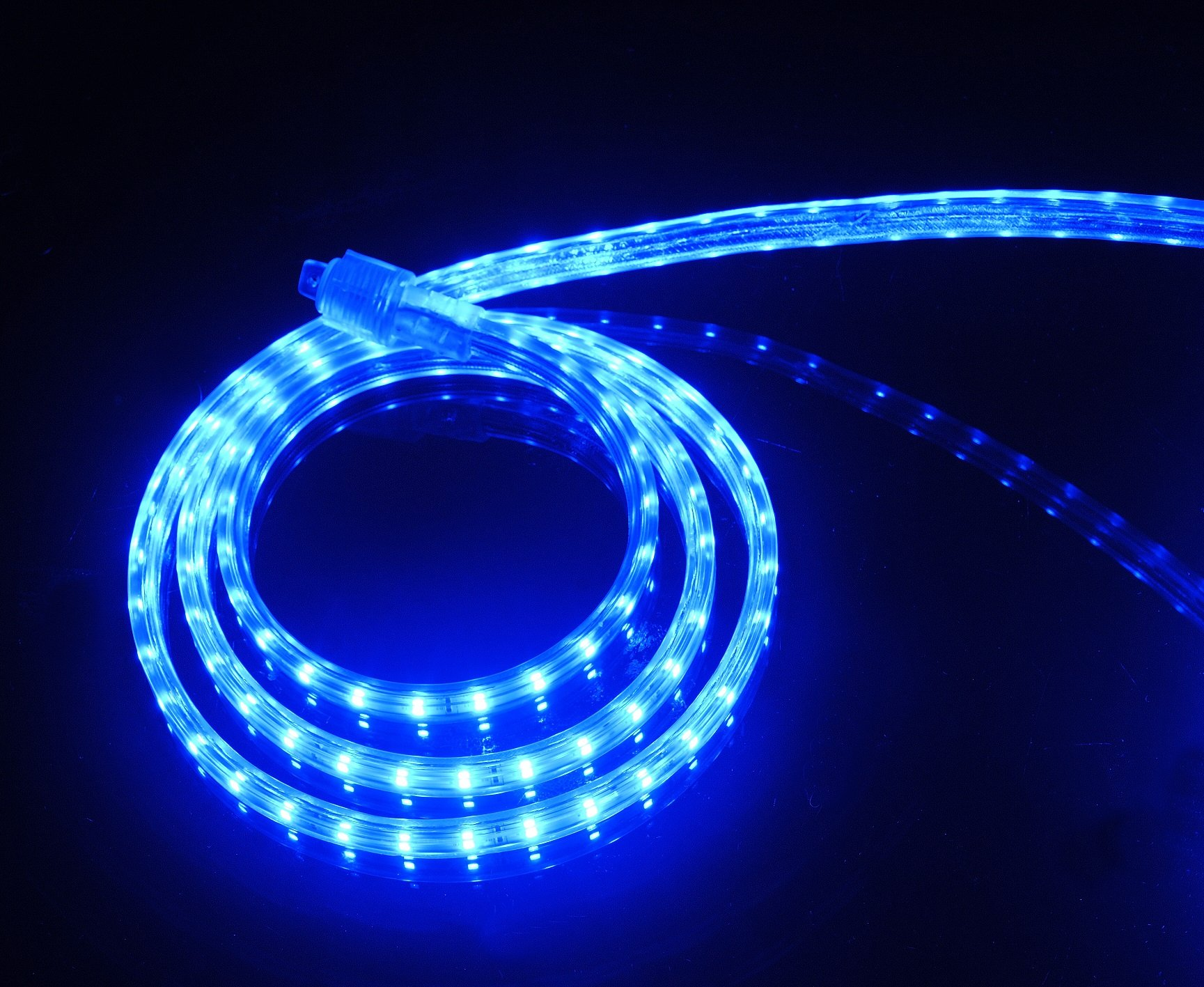 CBconcept UL Listed, 30 Feet, 3200 Lumen, Blue, Dimmable, 110-120V AC Flexible Flat LED Strip Rope Light, 540 Units 3528 SMD LEDs, Indoor/Outdoor Use, Accessories Included, [Ready to use]