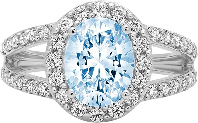 1.89ct Brilliant Round Cut Solitaire Halo Natural Sky Blue Topaz Gem Stone Ideal VVS1 Engagement Promise Statement Anniversary Bridal Wedding Accent ring Solid 14k Pink Rose Gold