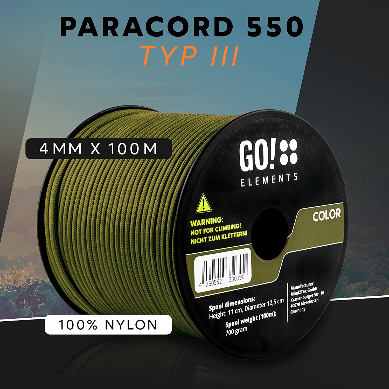 Paracord 550 Type III 4 mm ficelle Bande Cordage 100/% Nylon Rouge Bordeaux
