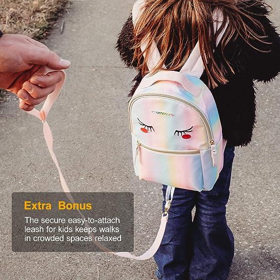 mommore Kleinkind Rucksack mit Brustgurt Kindergartenrucksack mit Sicherem Seil Leichtgewichtiger Mini Rucksack Regenbogenfarbe