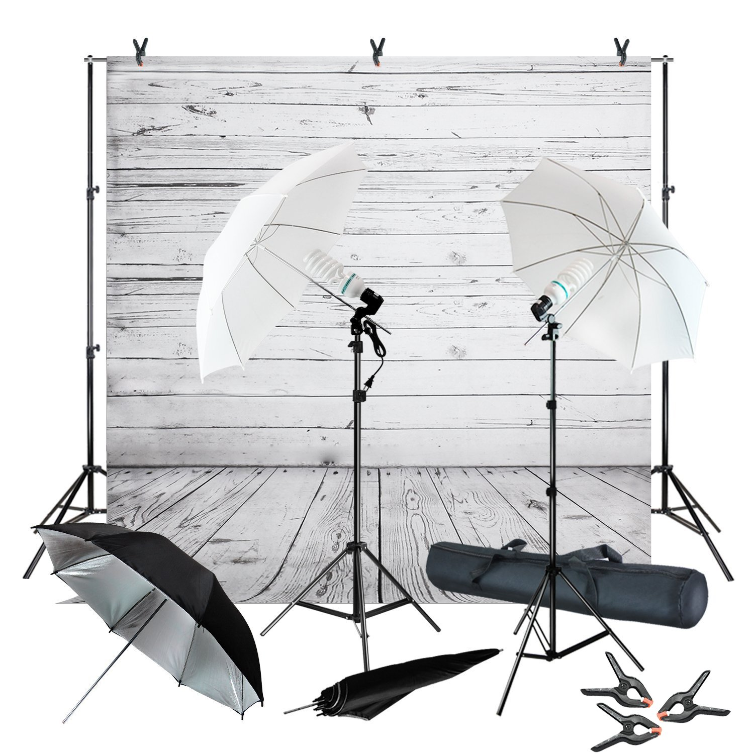 Julius Studio Wood Floor Backdrop Muslin with Umbrella Lighting Kit, Background Support Stand, Bulb, Socket, Spring Clamp, White & Black Umbrella Reflector, Photography Studio, JSAG355